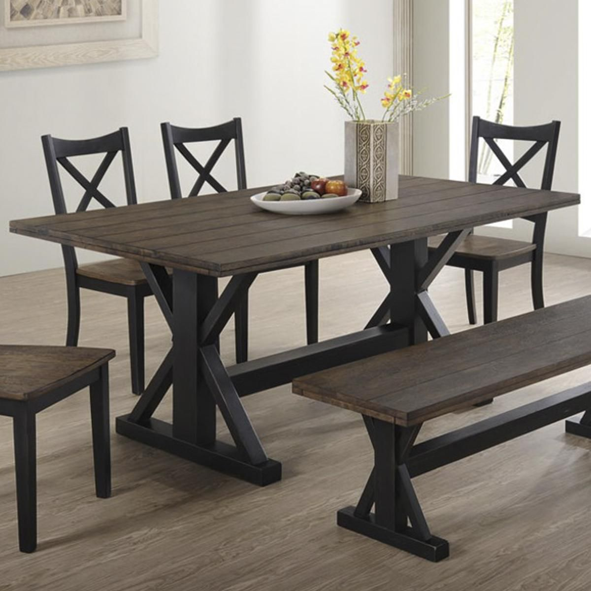 Simmons Upholstery Lexington Dining Table In Black And Rustic Oak