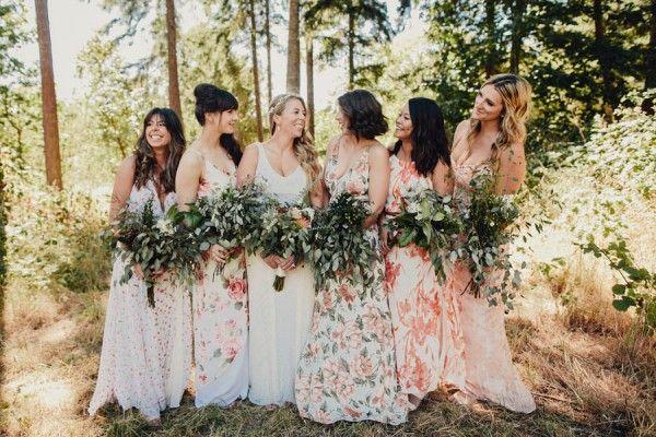 Boho Cabin Wedding At Bodega Ridge Junebug Weddings Floral Bridesmaid Dresses Cabin Wedding Boho Bridesmaid