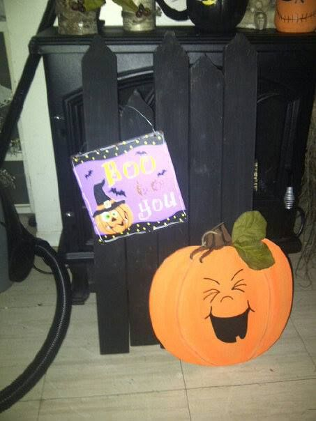 Made this mini fence and accessories for my porch for Halloween