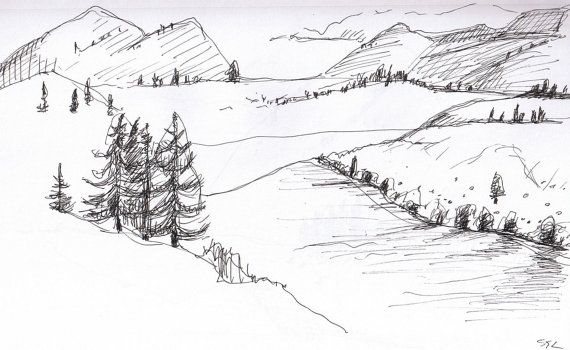 Paisaje Dibujo Original Tinta Sketch Washington Cascada