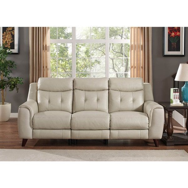 Hydeline By Amax Paramount Top Grain Cream Leather Power Reclining Sofa