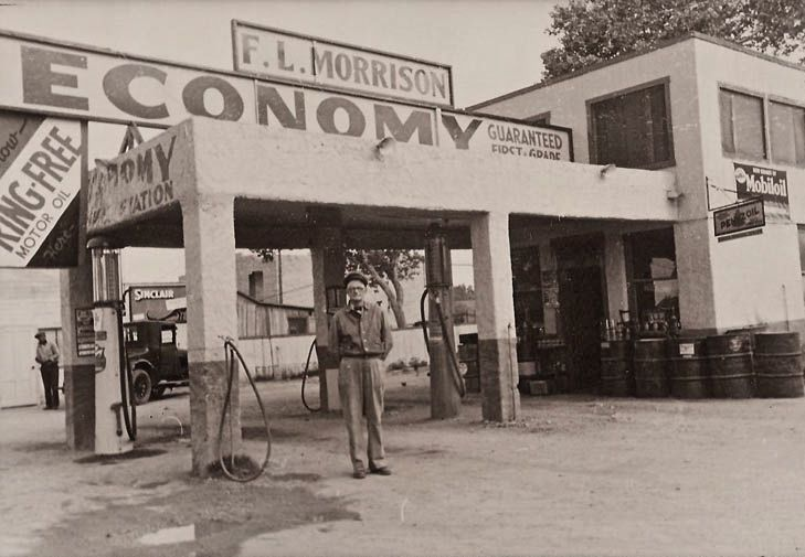 Economy GasF.L. Morrison's Economy gas station is shown in an unknown location. It appears as though he sold Sinclair gasoline from his visible pumps along with Macmillan Ring-Free, Mobiloil and Pennzoil motor oils -