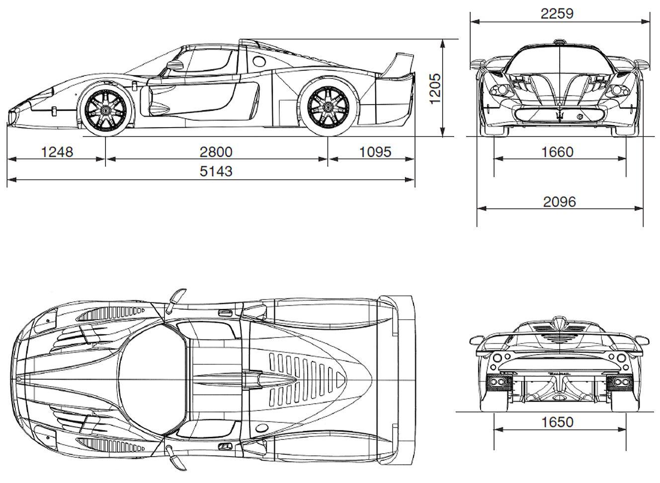Maserati MC12 blueprint | Blueprints | Pinterest | Maserati, Cars ...