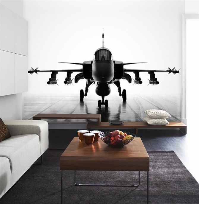 Airplane Wall Mural would be awesome not necessarily a fighter jet