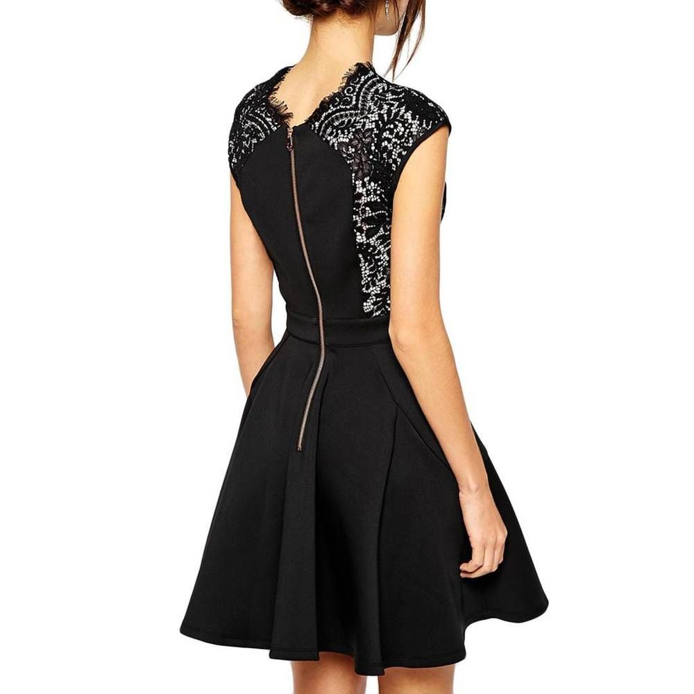 Ted Baker Black Lace Panel Skater Occasion Wedding Dress Tb