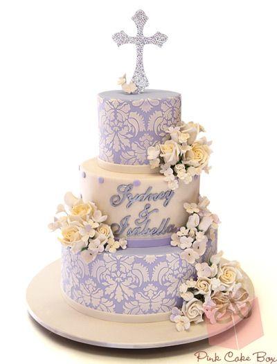 Lavender Damask Christening Cake 187 Christening Cakes