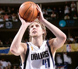 Dirk Nowitzki. Revolutionized the power forward position. Master of trademark one-legged fadeaway shot and unique/off-balanced/impeccable shotmaking. Clutch performer. Greatest Dallas sports figure ever.