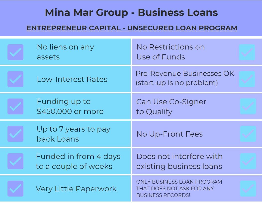 Mina Mar Group Entrepreneur Capital Unsecured Loan Program Benefits In 2020 Unsecured Loans Business Loans Raising Capital