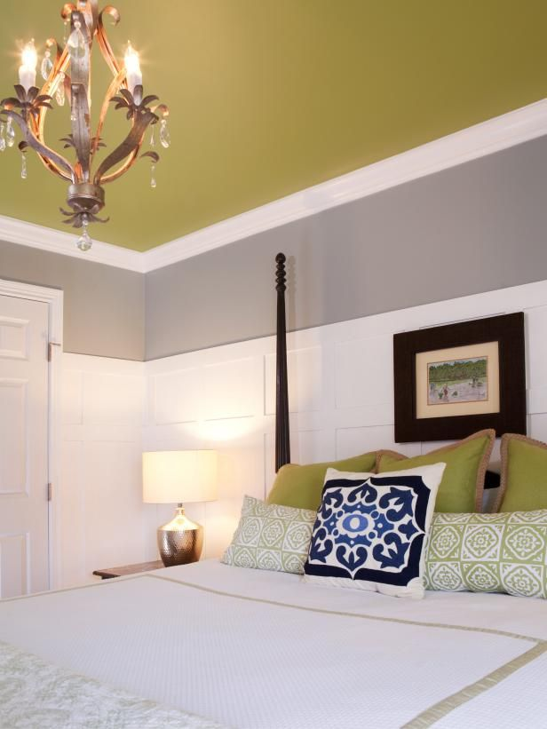 Green Pillows And Ceiling In Gray And White Bedroom Bedroom Colors Home Bedroom Design