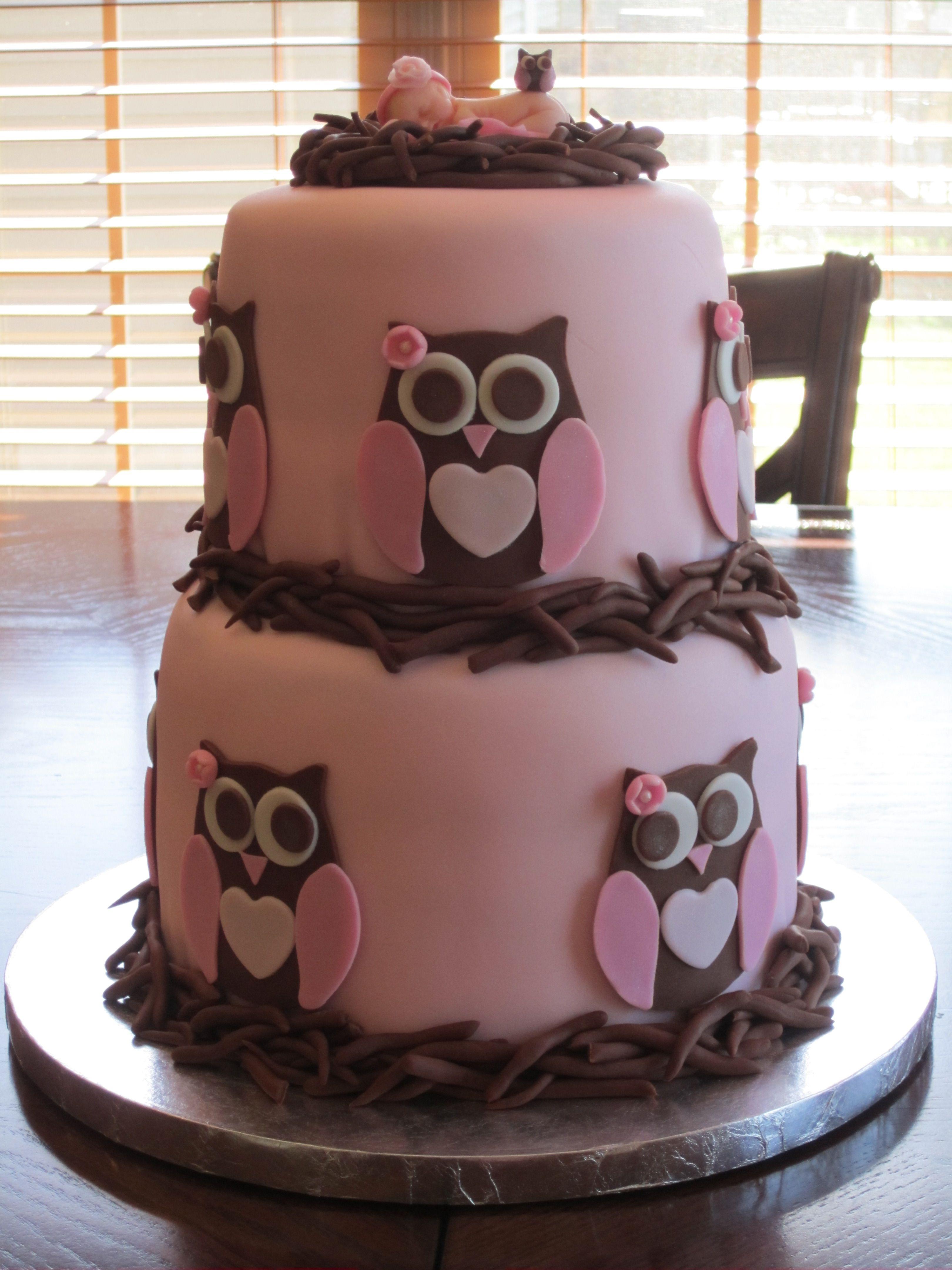 Owl Baby Shower Cake Baby Shower Cakes Baby Shower Cakes Girl