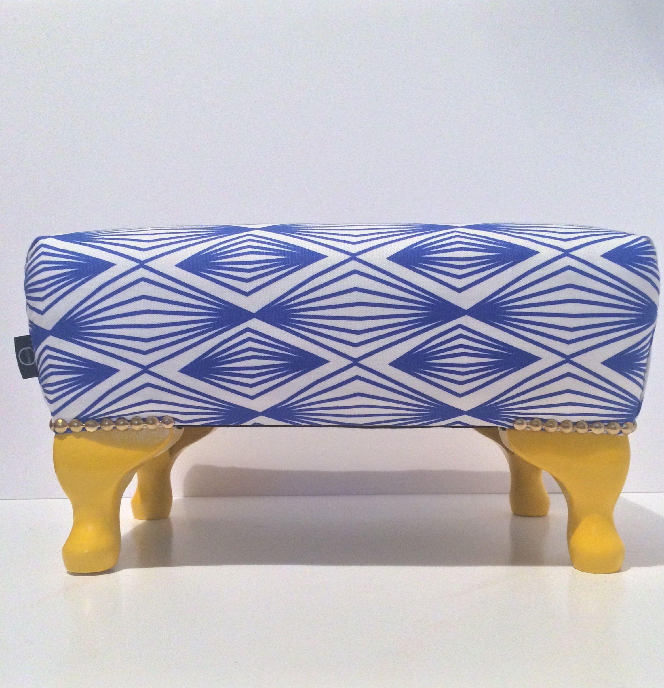 Bespoke blue and yellow footstool Yellow footstool