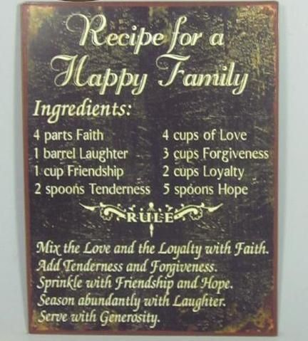 Recipe For A Happy Family Wedding Gift Ideas Happy Quotes Happy