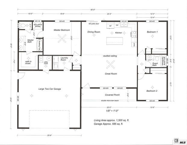 1500 Sq Ft Open Floor Plan Pole Barn House Plans House Plans Open Floor House Plans
