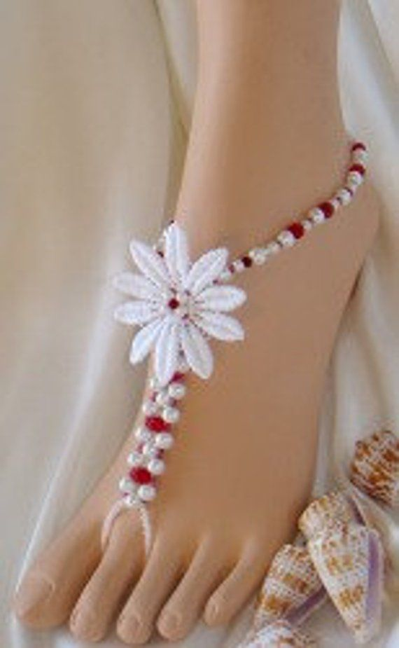 Single Flower Beach Barefoot Sandals Foot Jewelry for Beach Bride and  Bridesmaids 1ee7d83c17b3