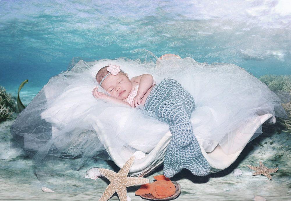 830e3d843c Newborn photography mermaid studio set using props and a chromakey green  screen backdrop