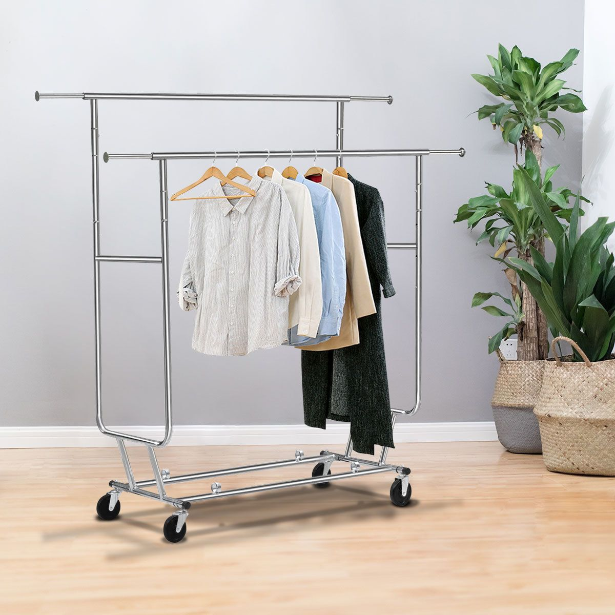 Heavy Duty Clothing Garment Adjustable Salesman Rolling Rack Hanger Chrome