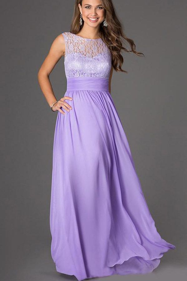 Light Purple Lace Accent Chiffon Maxi Dress | Chiffon maxi, Light ...