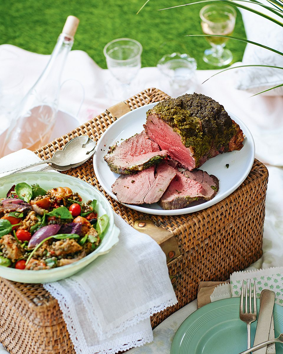 Pangrattato Topped Beef With Slow Roast Tomato Garlic And Basil Lentil Salad Recipe Delicious Magazine Recipe Lentil Salad Recipes Roasted Tomatoes Beef Fillet Recipes