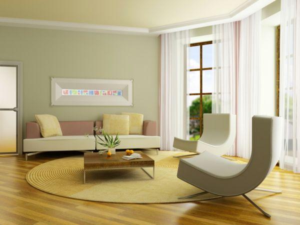 schönes wohnzimmer grüne wandfarbe rundes teppicg kleiner testtisch - design gardinen wohnzimmer