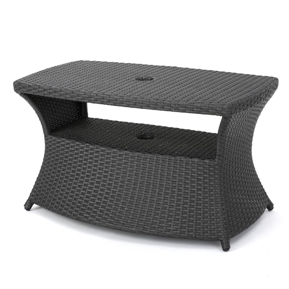 Noble House Adrian Grey Wicker Outdoor Side Table 11717 Wicker Side Table Outdoor Side Table Patio Furniture Sets