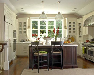 My Dream Kitchen ~ A Contemporary Country theme: the perfect blend of dark wood with bright windows and cupboards, a farmhouse sink, open area and island for entertaining and a gorgeous gas range. LOVE every bit of this space.
