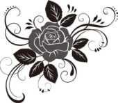 花のフリーイラスト 薔薇白黒モノクロ Clipart バラ イラスト