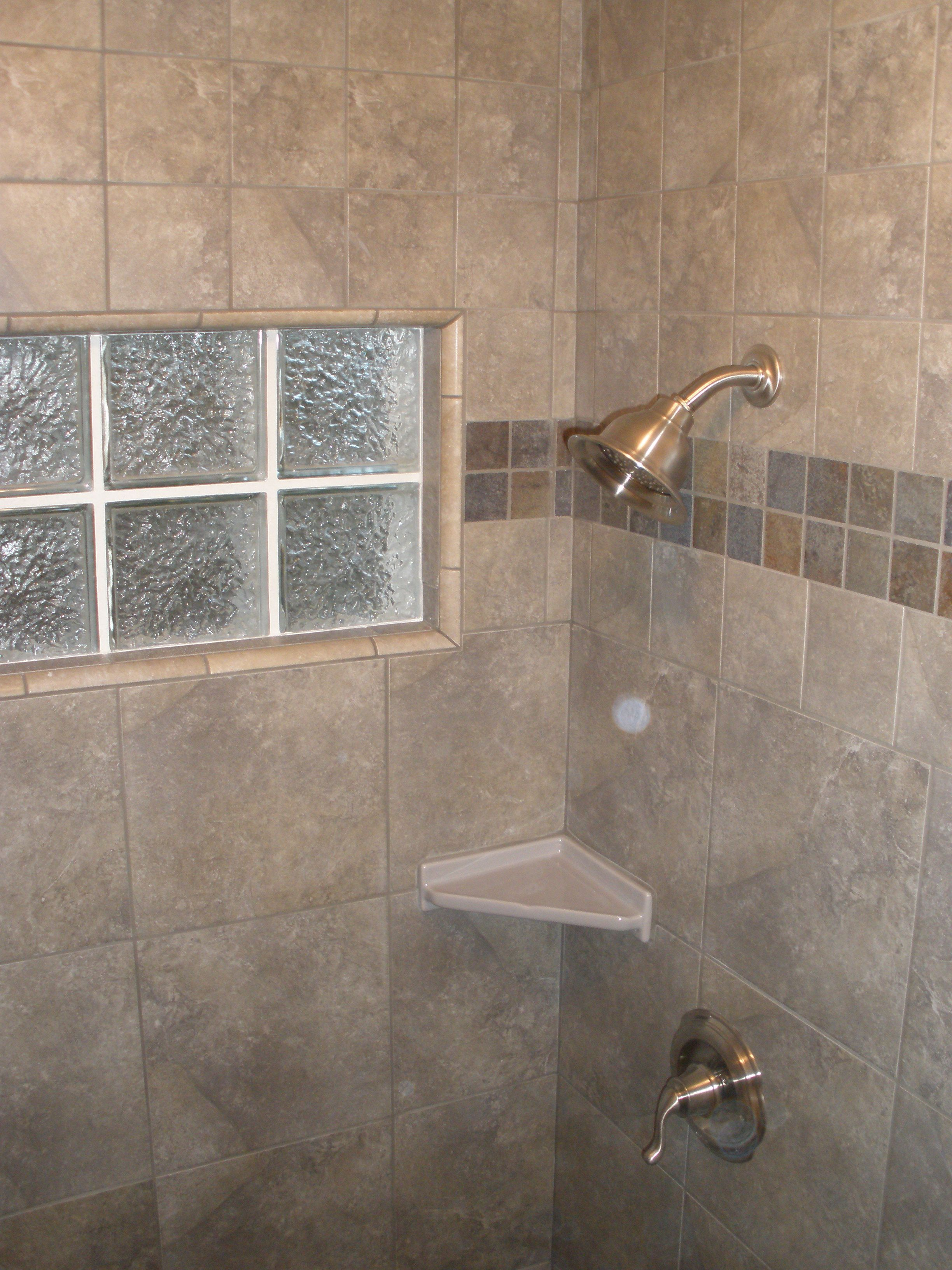 window replaced with glass block icescapes 12x12 porcelain tile 2 shower remodelshower