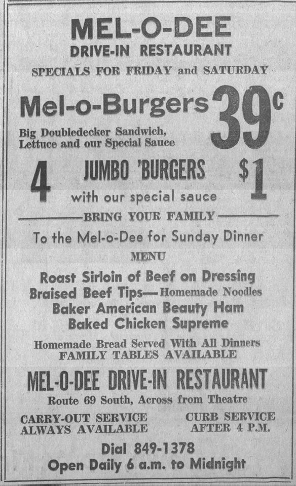 Vintage 1965 newspaper ad for the Mel-O-Dee Diner in Park Layne, Ohio (Courtesy of Scott Suther)