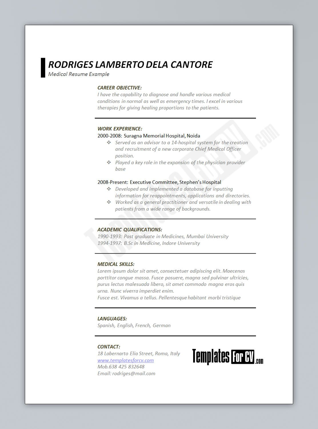Medical CV template medical CV template CV Templates