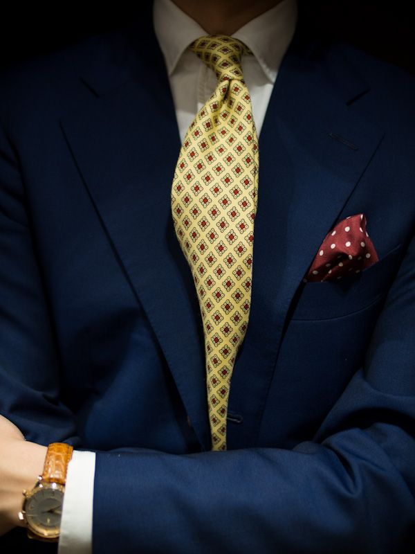 c6bc95f2ef23 navy jacket. white shirt. yellow tie. burgundy pocket square. dope watch.