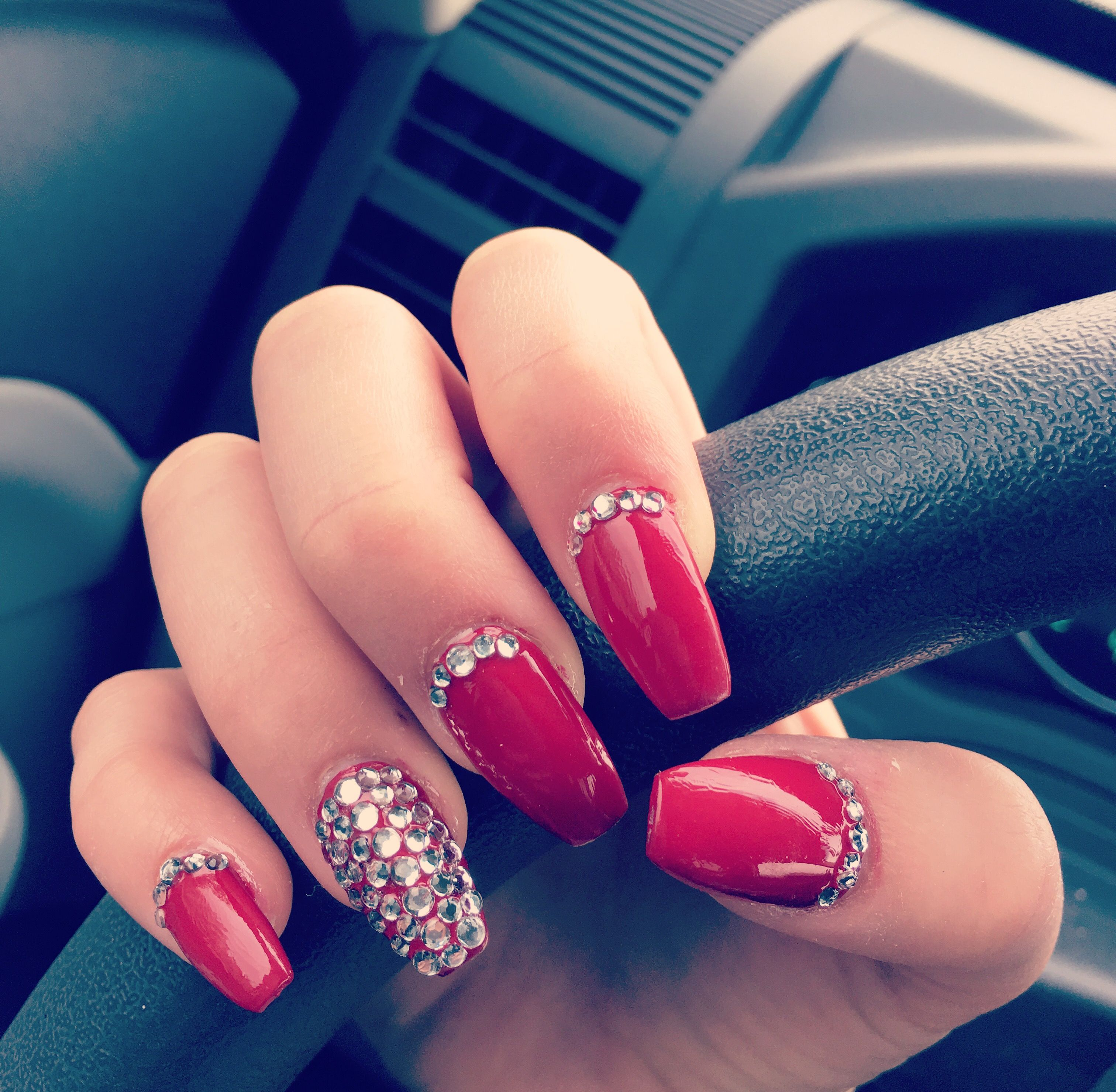 Loving These Nails Nails Acrylic Red Rhinestones Red Nail Designs Red Acrylic Nails Red Nails