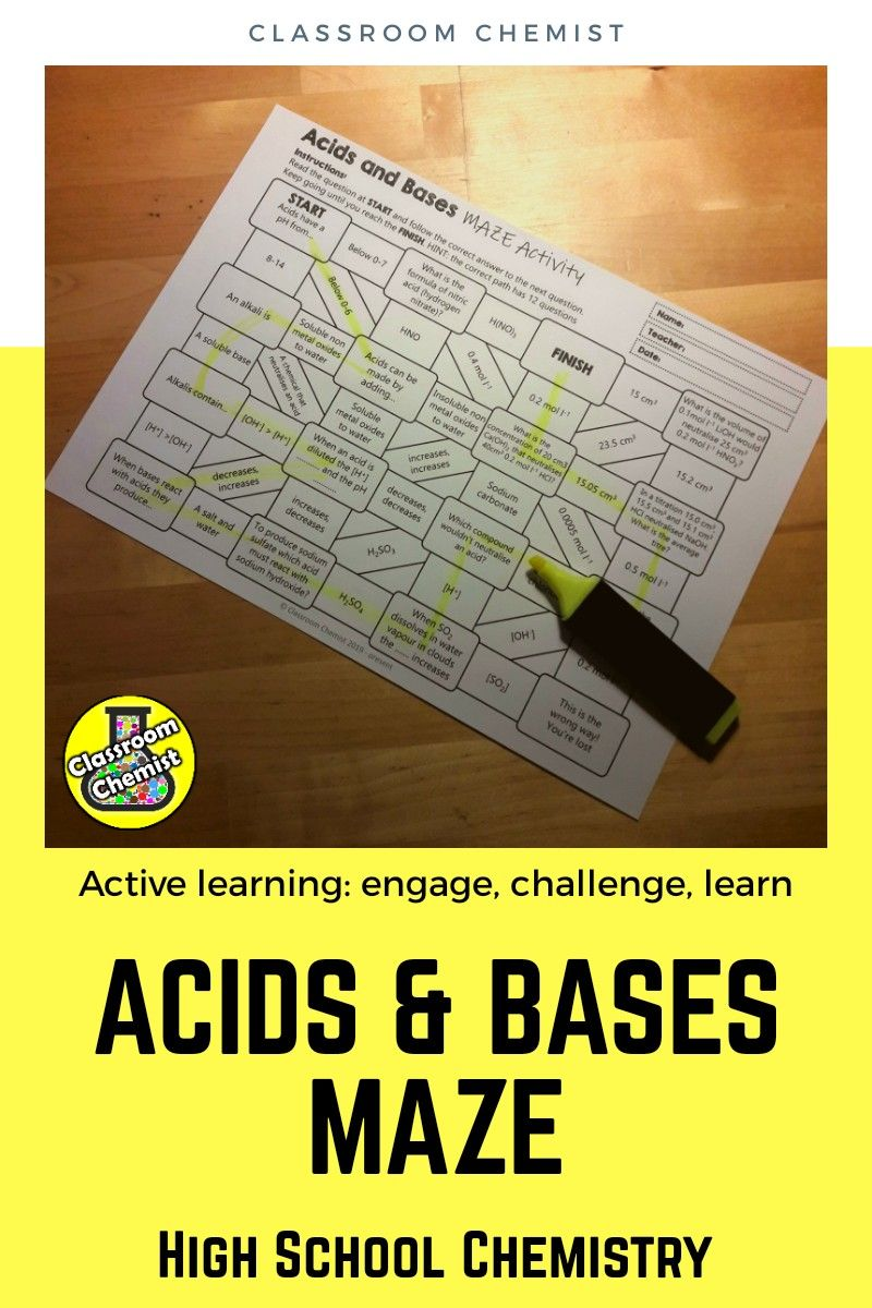 Acids And Bases Activity Maze High School Activities Chemistry Worksheets Chemistry Classroom