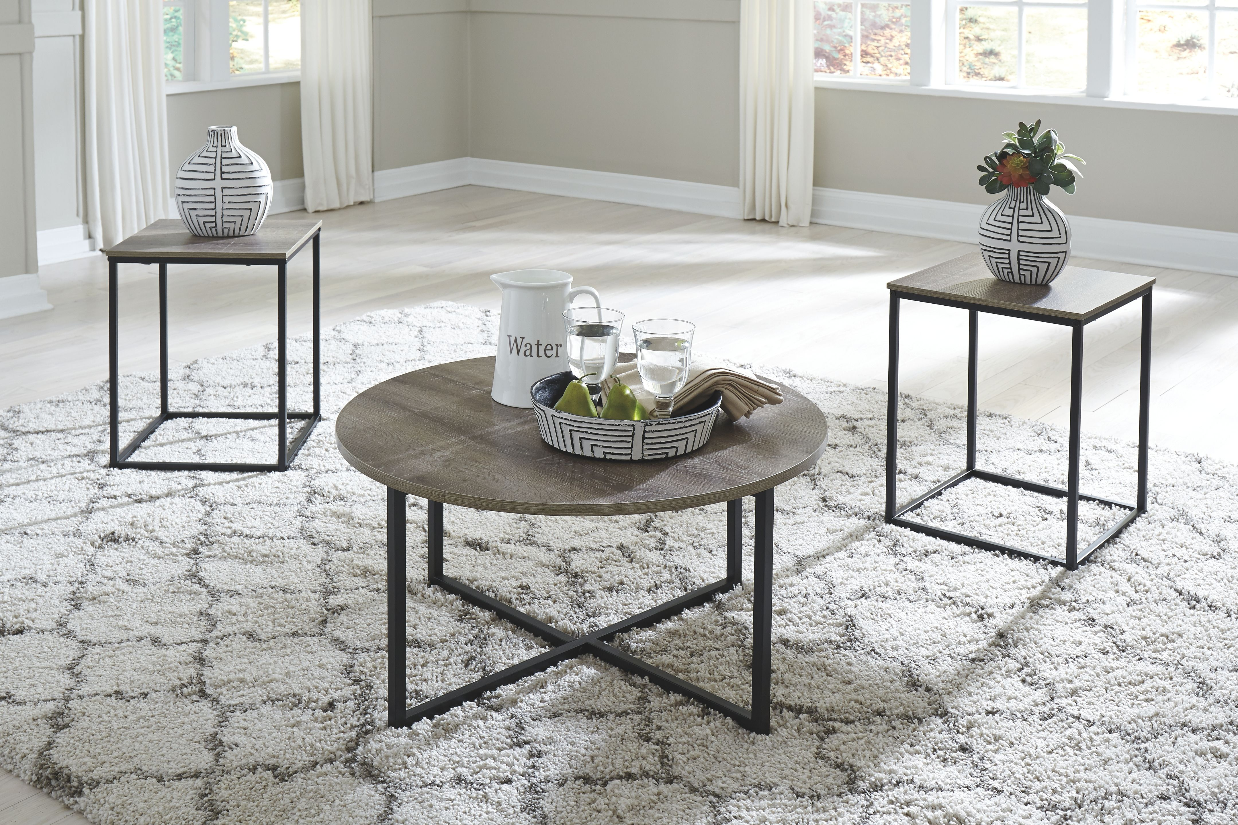 Wadeworth Table Set Of 3 Two Tone Living Room Table Sets End Table Sets Table Settings