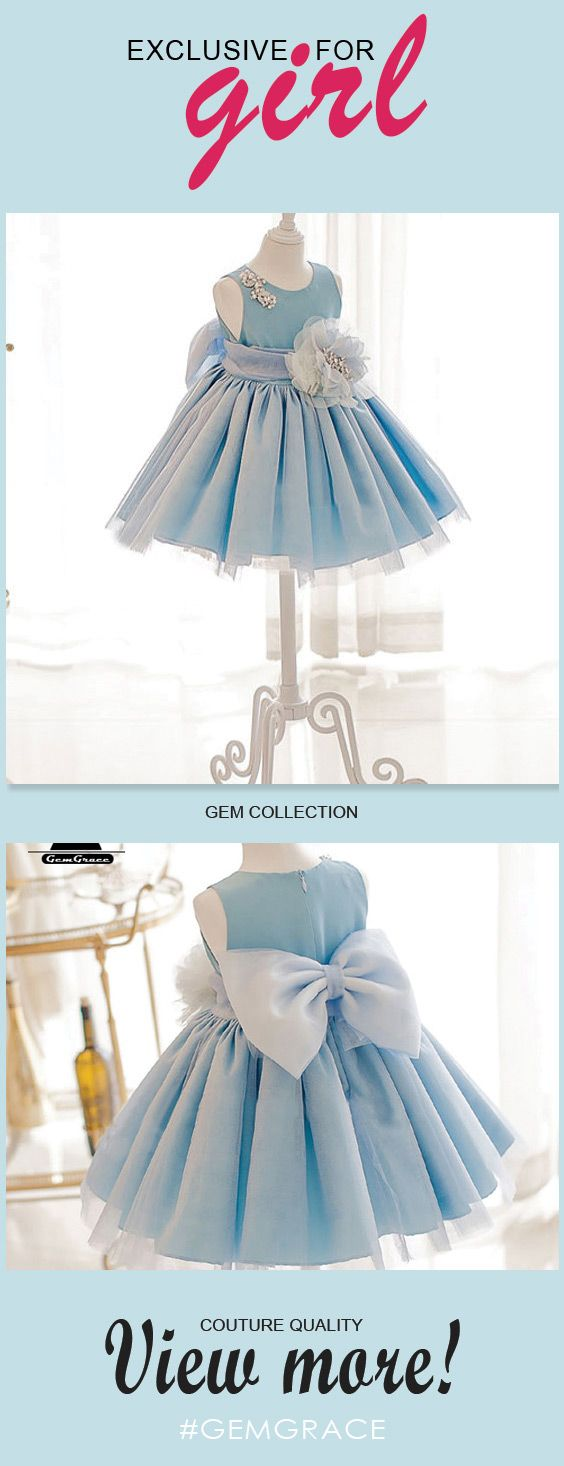 Blue Princess High-end Flower Girl Dress With Big Bow For Formal ...