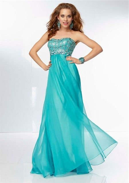 flowing sweetheart neckline long turquoise chiffon beaded prom