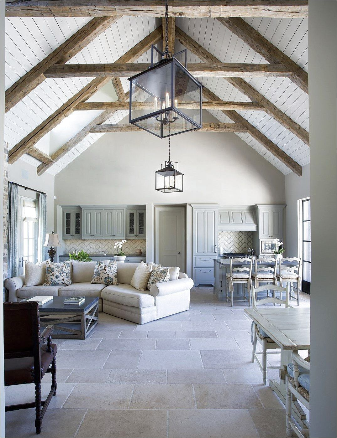 Cathedral Ceilings With Exposed Beams White Washed Bright Interior Stone Floor Cer Vaulted Ceiling Living Room Cathedral Ceiling Living Room Exposed Beams