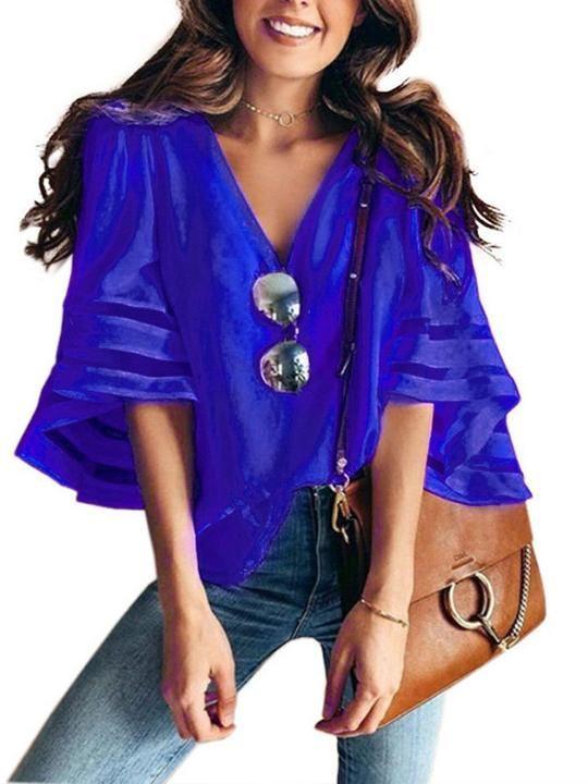 3735c3f6b Lulunina Women'S V-Neck Mesh Panel Blouse 3/4 Bell Sleeve Loose Top ...