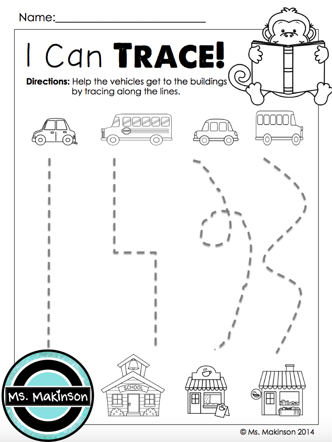 Monday Pre K Tracing Worksheet