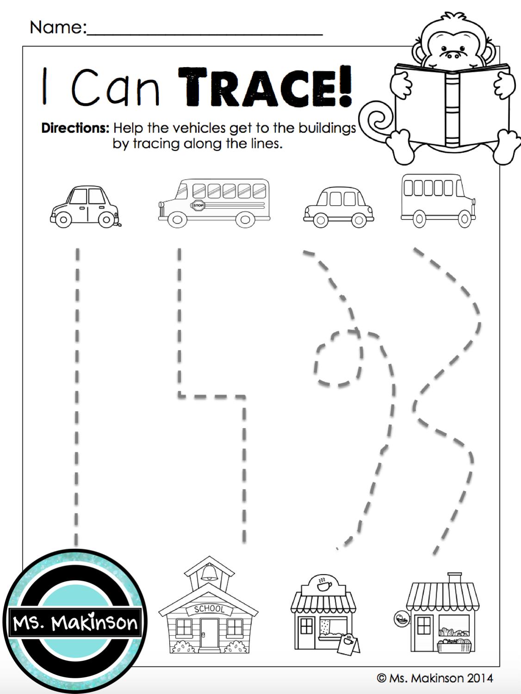 september printables kindergarten literacy and math transportation preschool theme. Black Bedroom Furniture Sets. Home Design Ideas