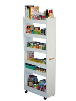 Kitchen Cart Rolling Pantry Cabinet With Wood Storage Shelves Kitchensource