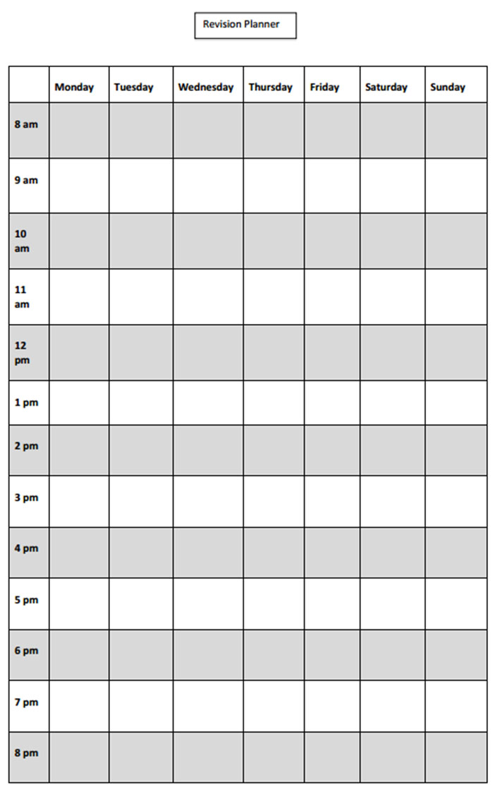 Blank Revision Timetable Template 4 Templates Example Templates Example Timetable Template Revision Timetable Template Revision Timetable