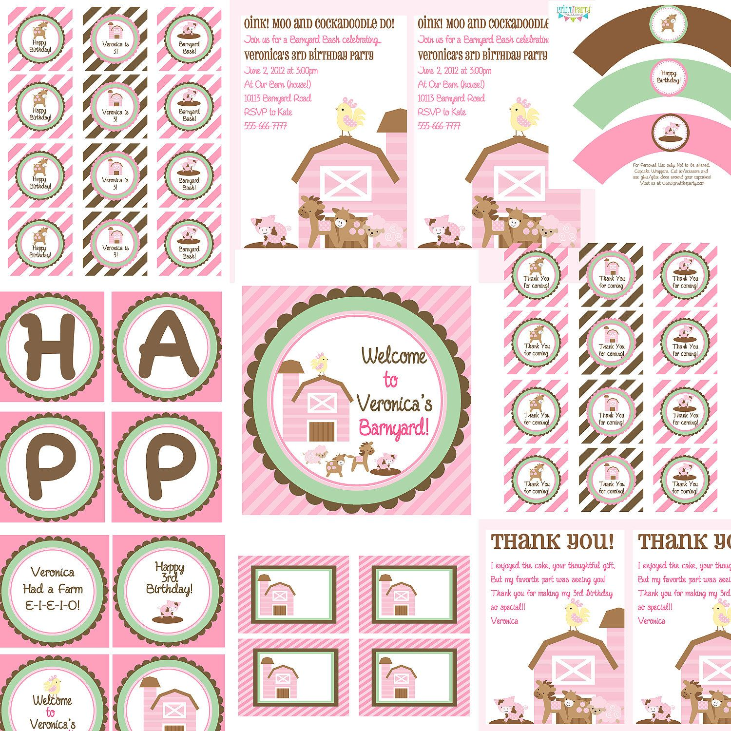 Girls Pink Barnyard Barn Theme Birthday Bash - FULL Printable party collection - by Print The Party. $37.50, via Etsy.