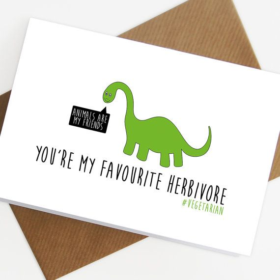 Funny Vegetarian Card Herbivore Vegan By SiouxAlice On Etsy