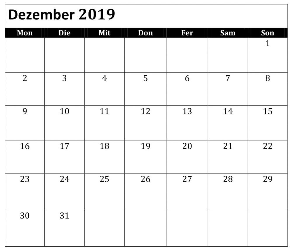 Excel Kalender Dezember 2019 Zum Ausdrucken With Images