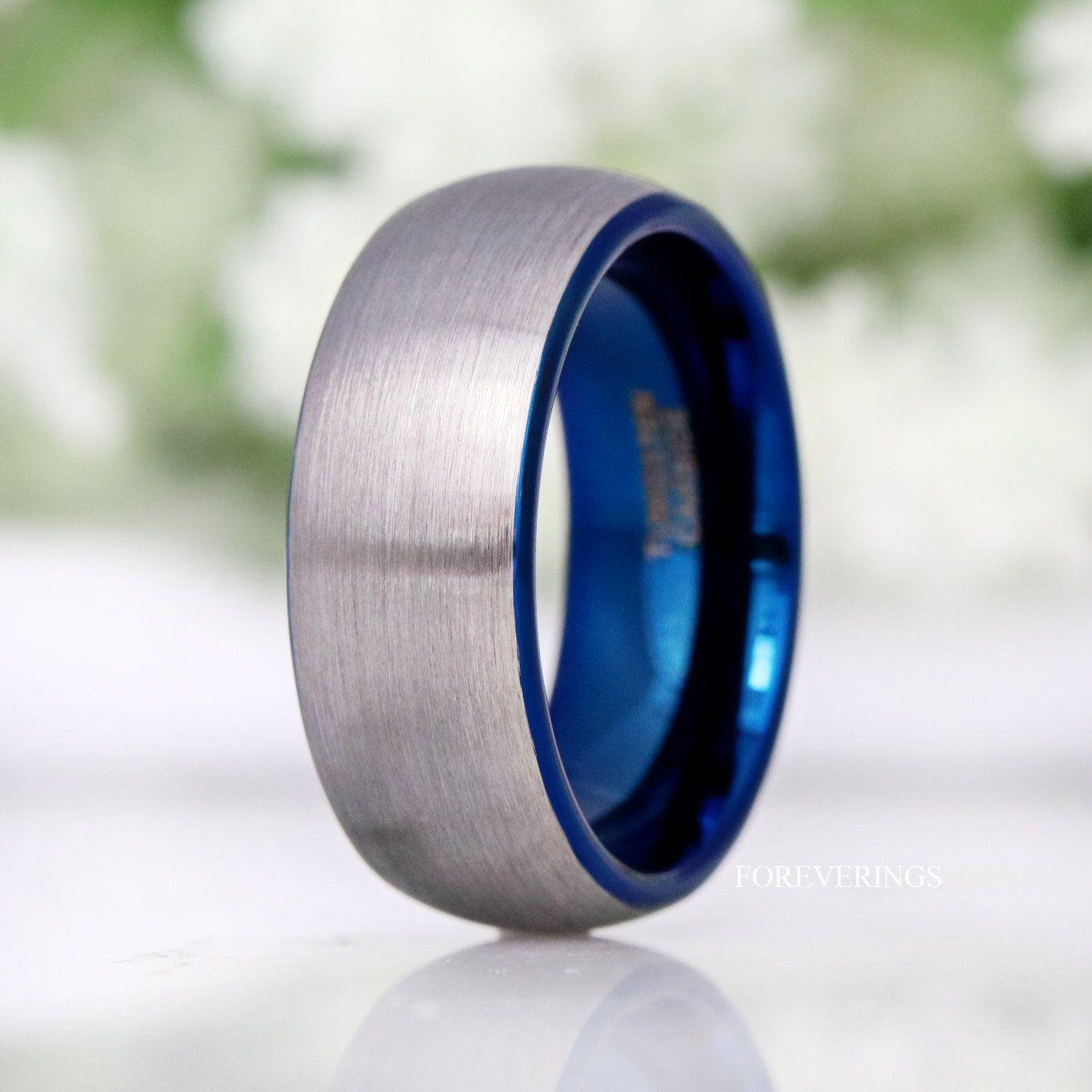 Blue Gunmetal Brushed Tungsten Ring