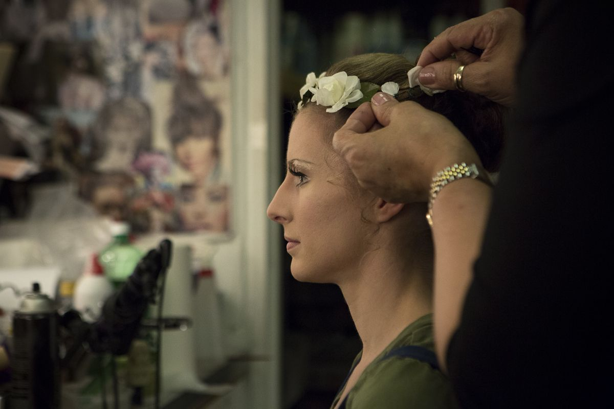 Makeup with emerald green dress   Gorgeous Backstage Photos of NYCB Ballerinas  City ballet