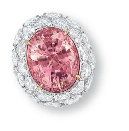 Padparadscha sapphire ring - via Christie's. Pinned this for the colour of the sapphire. Lovely and soft pink