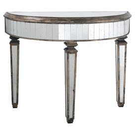 Mirrored Demilune Console Table Product Construction Material Gl And Wood Color Chrome Brown Features Semi Circle Shape