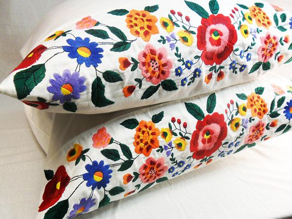 1 pc Embroidered Pillowcase Bedroom Decor Cotton Floral Home Decor Organic pillowcase Ukrainian embroidery White pillow cover Bright flowers