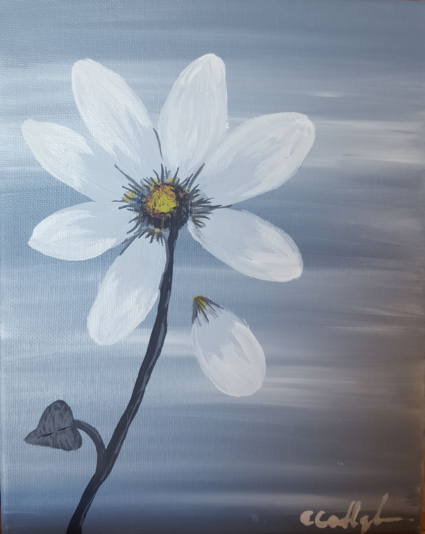 Single Daisy Beautiful Flower Painting Bee Joyful Art Parties